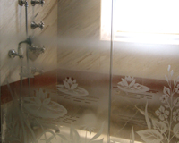 Etched & Leaded Glass Water Lilies Etched in Shower Enclosure