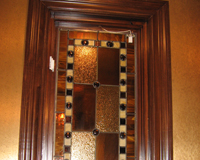 Etched & Leaded Glass Amber Colored Glass with Mosaic Border