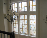Etched & Leaded Glass Leaded Glass in Window over Staircase