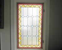 Etched & Leaded Glass Clear Leaded Glass with Colored Frame