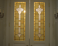Etched & Leaded Glass Clear Beveled Clusters set in Amber Glass