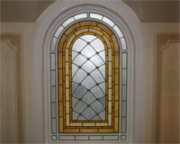 Etched & Leaded Glass Leaded Glass in Arched Window