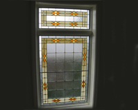 Etched & Leaded Glass Hallway Stained Glass with Gold Colored Touches
