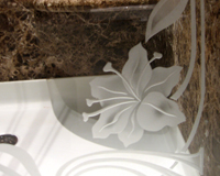 Etched Glass Tub Enclosure