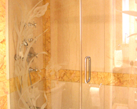 Etched Glass Shower Enclosure